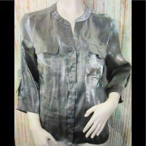 Elementz sparkle silver buttons down blouse XL